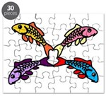 Abstract Colorful Carp 4 flower Puzzle