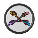Abstract Colorful Carp 4 Flower Large Wall Clock