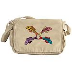 Abstract Colorful Carp 4 flower Messenger Bag