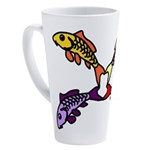 Abstract Colorful Carp 4 flower 17 oz Latte Mug