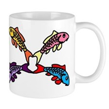 Abstract Colorful Carp 4 flower Mugs
