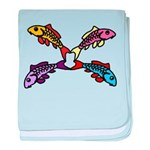 Abstract Colorful Carp 4 flower baby blanket