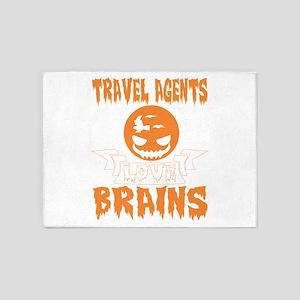 Travel Agents Love Brains Halloween 5'x7'Area Rug