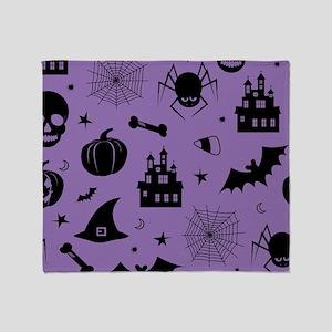 Halloween Haunts Pattern Purple Throw Blanket