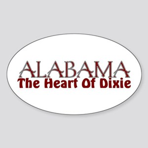 Alabama the heart of Dixie Oval Sticker