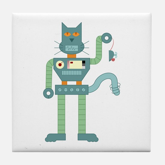 Robot Cat Mouse Toy Tile Coaster