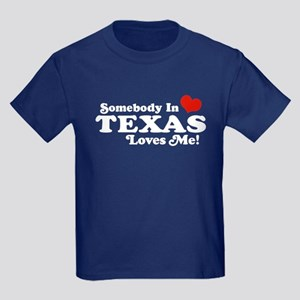 Somebody in Texas Loves Me Kids Dark T-Shirt