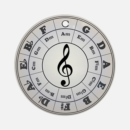 """Pearl"" Circle of Fifths Ornament (Round"