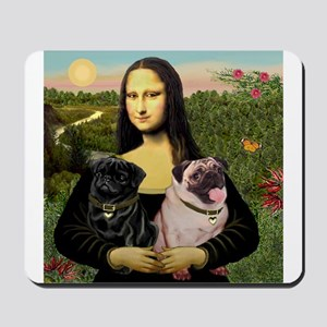 Mona & her 2 Pugs Mousepad