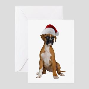 Santa Boxer Puppy Greeting Card