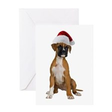 Santa Boxer Puppy Greeting Card