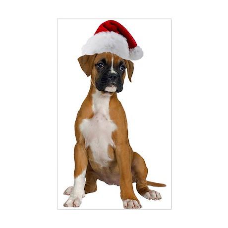 Santa Boxer Puppy Rectangle Sticker