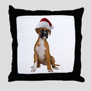 Santa Boxer Puppy Throw Pillow
