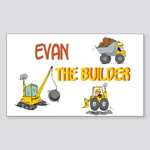 Evan the Builder Rectangle Sticker