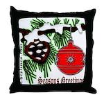 Christmas Red Ball Throw Pillow