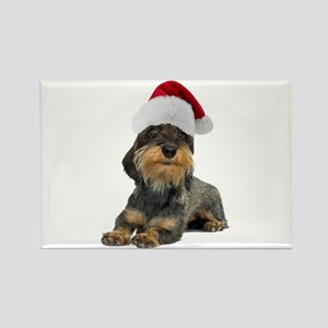 Wirehaired Dachshund Christmas Rectangle Magnet