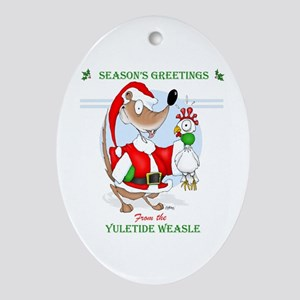 The Yuletide Weasle Oval Ornament