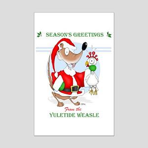 The Yuletide Weasle Mini Poster Print