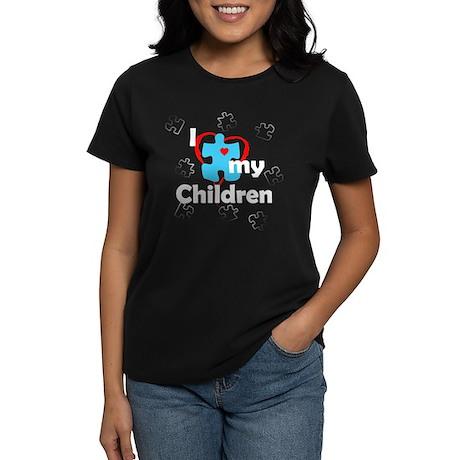 I Love My Children - Autism Women's Dark T-Shirt