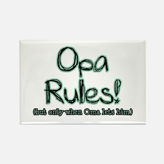 Opa Rules when Oma Lets Him Rectangle Magnet