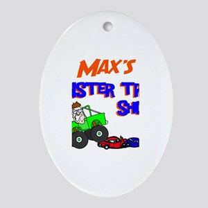 Max's Monster Truck Oval Ornament