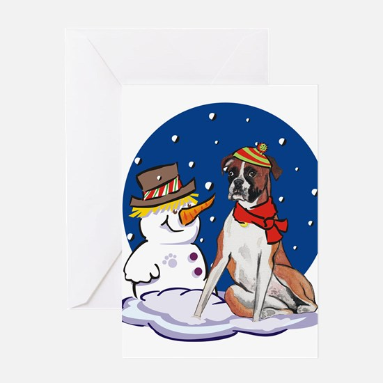 Boxer Dog and Snowman Greeting Card