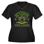 KUSH COLLEGE-2 Women's Plus Size V-Neck Dark T-Shi