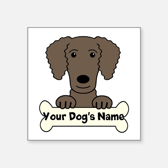"Personalized Curly-Coated R Square Sticker 3"" x 3"""