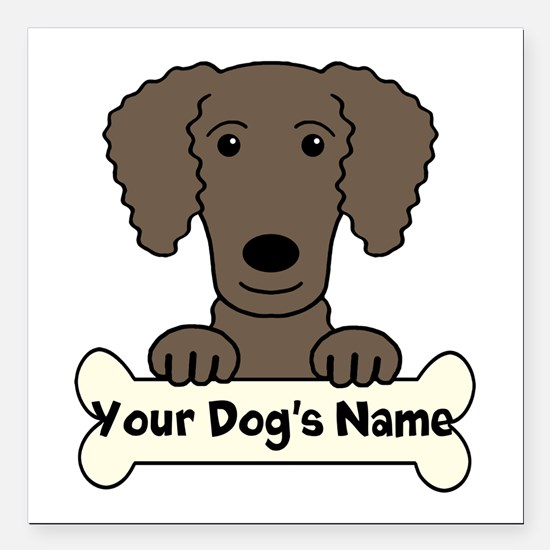 "Personalized Curly-Coate Square Car Magnet 3"" x 3"""
