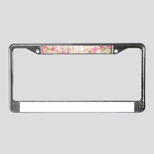 Beautiful Pink Tulip Floral Vi License Plate Frame