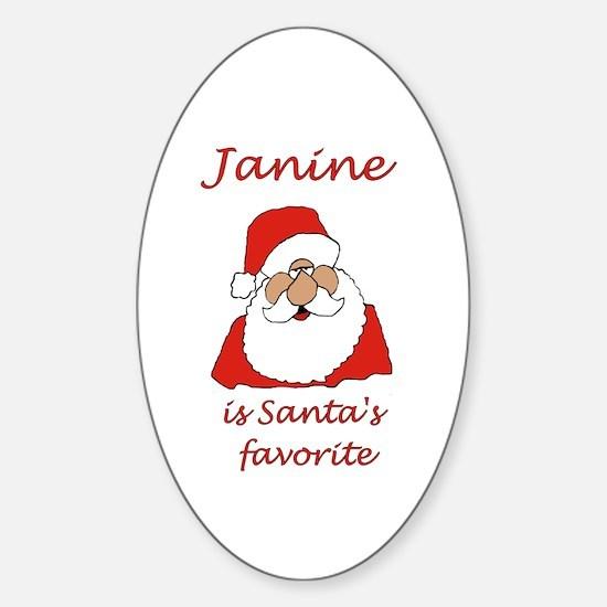 Janine Christmas Oval Decal