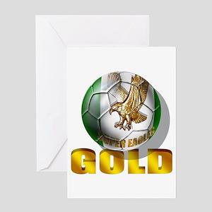 Nigerian Football Gold Greeting Cards