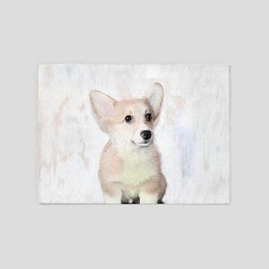 Corgi Puppy Dog 5'x7'Area Rug