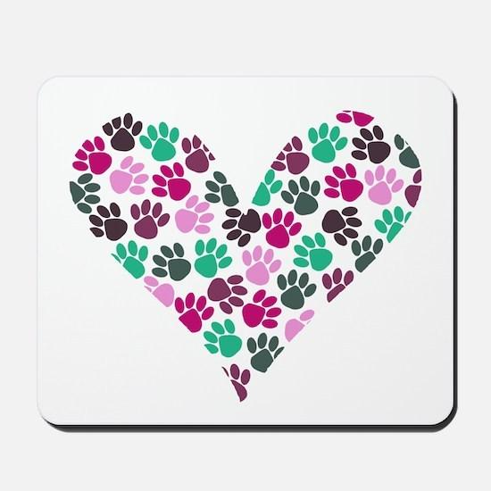 Paw Print Heart Mousepad