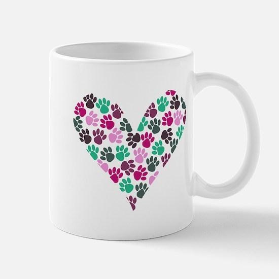 Paw Print Heart Mug