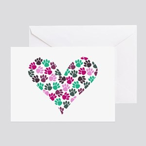 Paw Print Heart Greeting Card