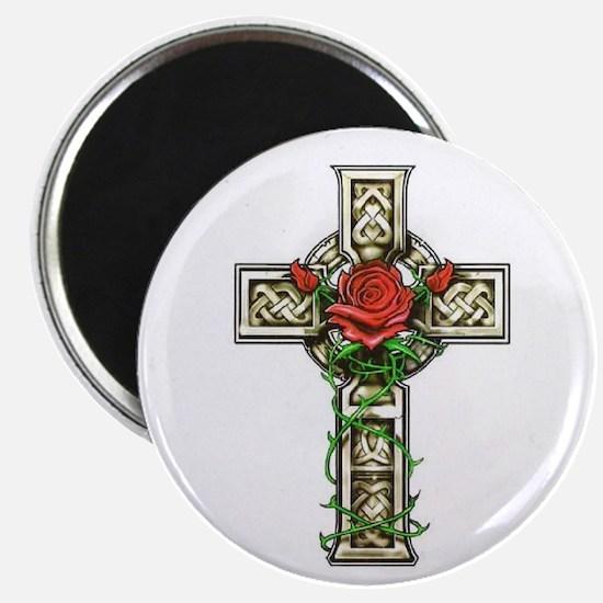 """Celtic Rose Cross 2.25"""" Magnet (10 pack)"""
