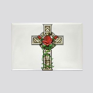 Celtic Rose Cross Rectangle Magnet