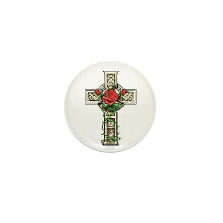 Celtic Rose Cross Mini Button