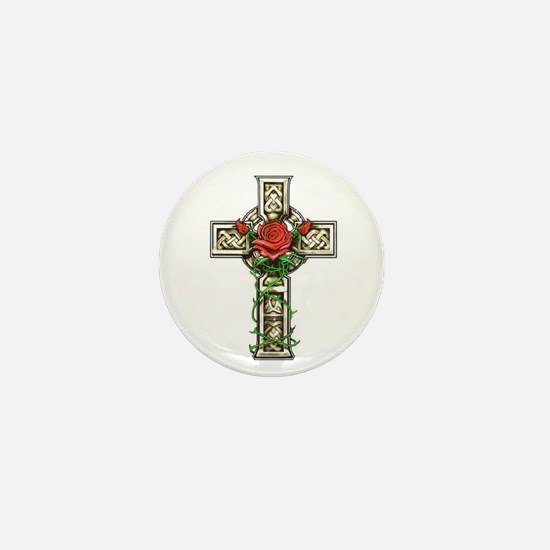 Celtic Rose Cross Mini Button