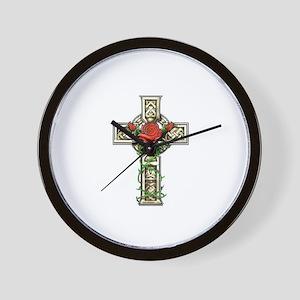 Celtic Rose Cross Wall Clock