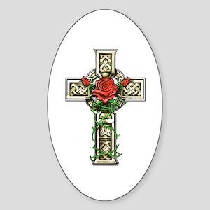 Celtic Rose Cross Oval Sticker