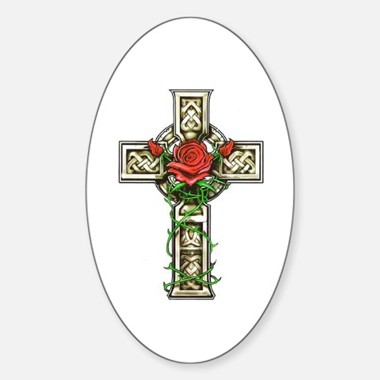 Celtic Rose Cross Oval Decal