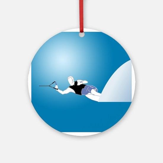 Slalom WaterSkier Ornament (Round)