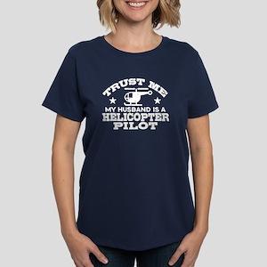 Husband Is A Helicopter Pilot Women's Dark T-Shirt