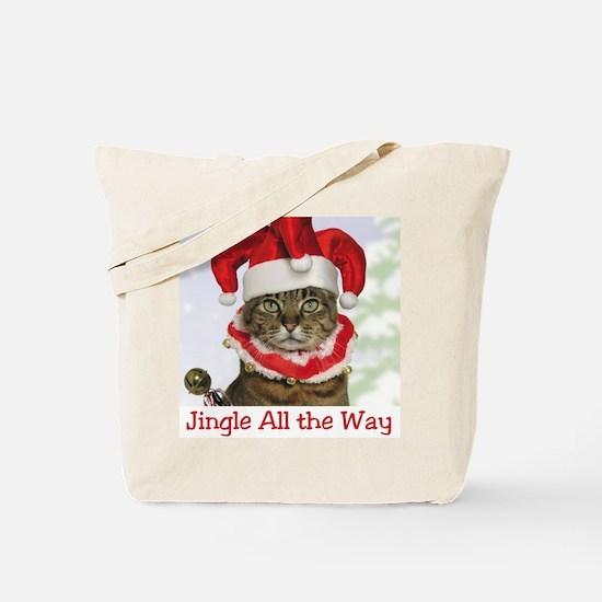 Jingle Bell Cat Christmas Tote