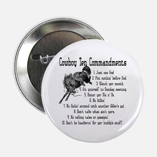 Cowboy Ten Commandments Button