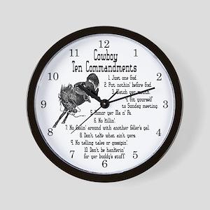 Cowboy Ten Commandments Wall Clock