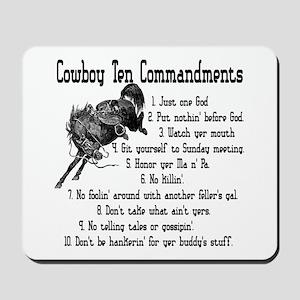 Cowboy Ten Commandments Mousepad
