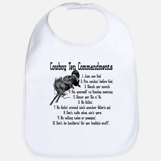Cowboy Ten Commandments Bib